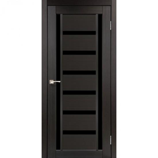 Дверь Valentino Deluxe VLD-02 с черным стеклом Венге