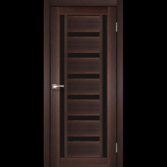 Дверь Valentino Deluxe VLD-02 с черным стеклом Орех