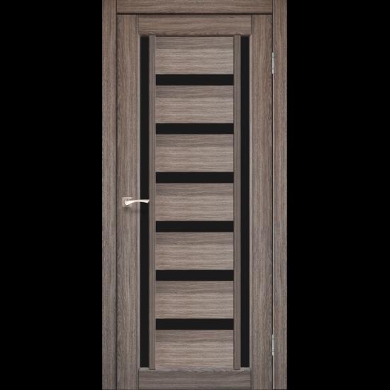 Дверь Valentino Deluxe VLD-02 с черным стеклом Дуб грей