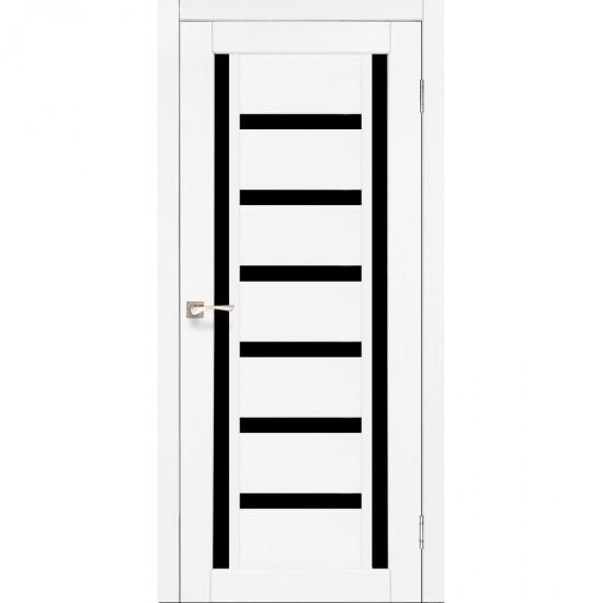 Дверь Valentino Deluxe VLD-02 с черным стеклом Ясень белый