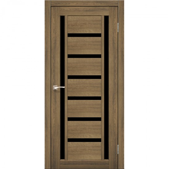 Дверь Valentino Deluxe VLD-02 с черным стеклом Дуб браш