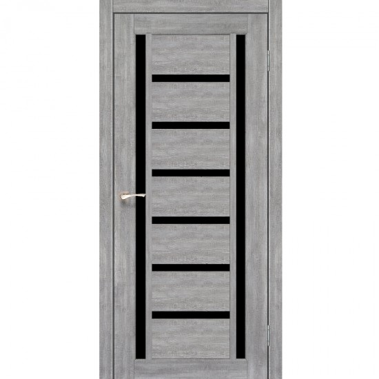 Дверь Valentino Deluxe VLD-02 с черным стеклом Эш-вайт