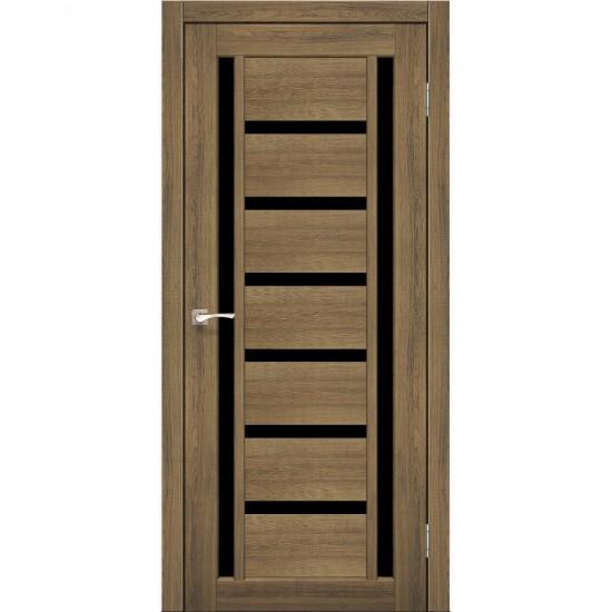 Дверь Valentino Deluxe VLD-02 с черным стеклом Дуб нордик