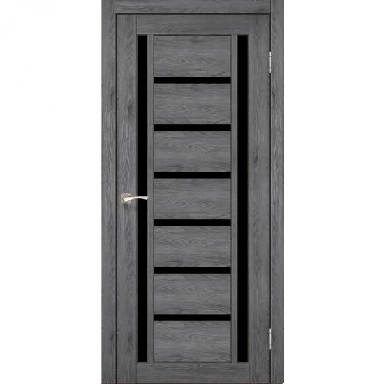 Дверь Valentino Deluxe VLD-02 с черным стеклом Лофт бетон