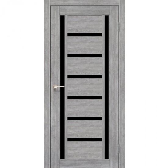 Дверь Valentino Deluxe VLD-02 с черным стеклом Лайт бетон