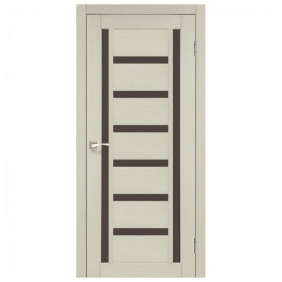 Дверь Valentino Deluxe VLD-02 со стеклом бронза Ясень белый