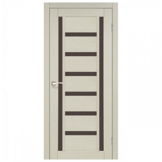 Дверь Valentino Deluxe VLD-02 со стеклом бронза Белый перламутр