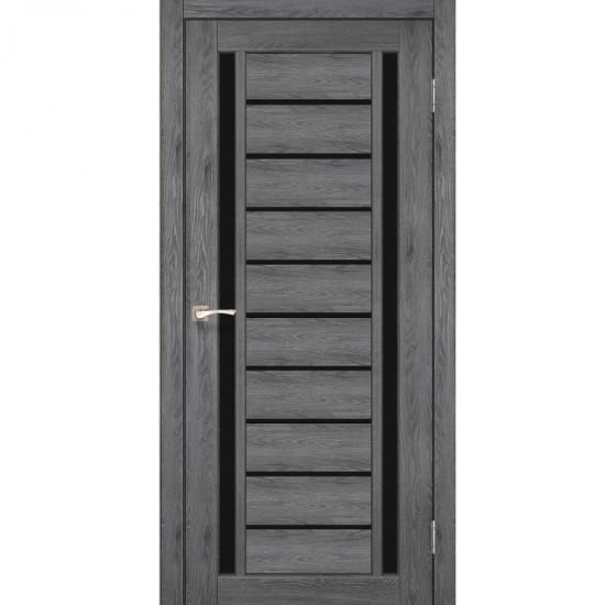 Дверь Valentino Deluxe VLD-03 с черным стеклом Дуб марсала