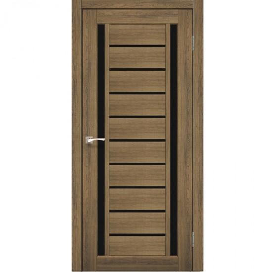 Дверь Valentino Deluxe VLD-03 с черным стеклом Дуб браш