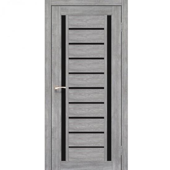 Дверь Valentino Deluxe VLD-03 с черным стеклом Эш-вайт