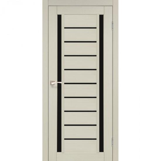 Дверь Valentino Deluxe VLD-03 с черным стеклом Белый перламутр