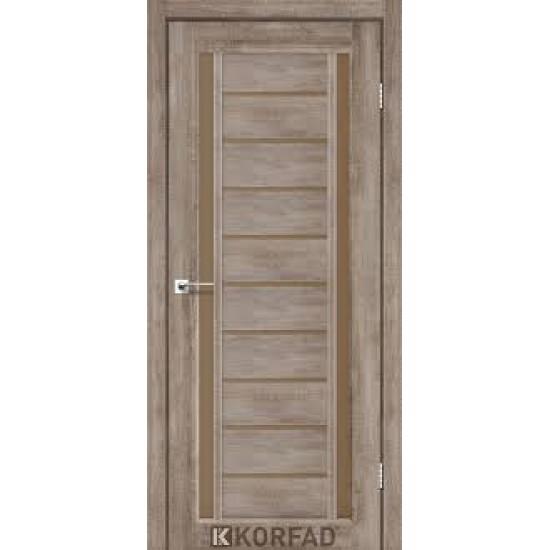 Дверь Valentino Deluxe VLD-03 со стеклом бронза Дуб браш