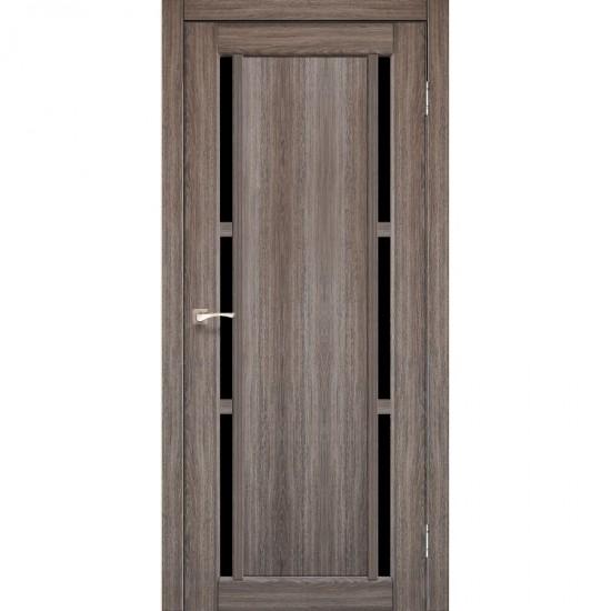 Дверь Valentino Deluxe VLD-04 с черным стеклом Дуб грей