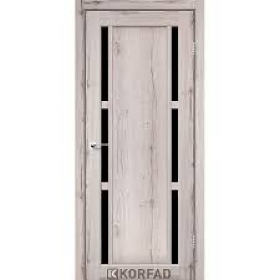 Дверь Valentino Deluxe VLD-04 с черным стеклом Дуб нордик