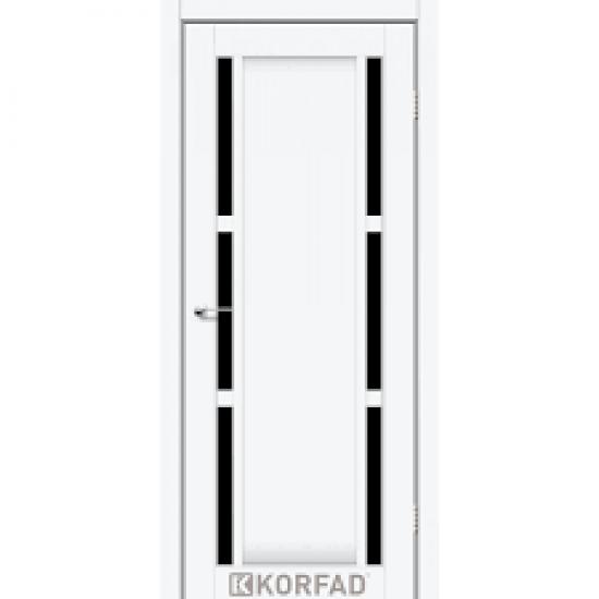 Дверь Valentino Deluxe VLD-04 с черным стеклом Белый перламутр