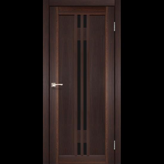 Дверь Valentino Deluxe VLD-05 с черным стеклом Орех