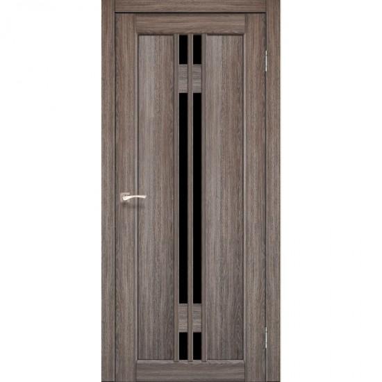 Дверь Valentino Deluxe VLD-05 с черным стеклом Дуб грей