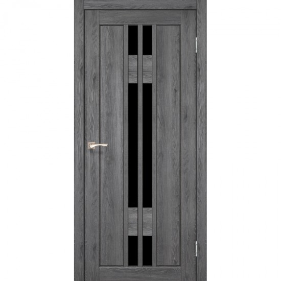 Дверь Valentino Deluxe VLD-05 с черным стеклом Дуб марсала