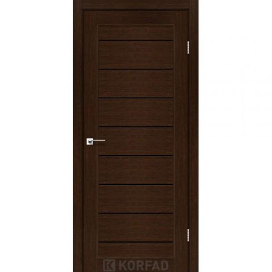 Дверь Piano Deluxe PND-01 с черным стеклом Орех
