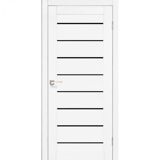 Дверь Piano Deluxe PND-01 с черным стеклом Ясень белый