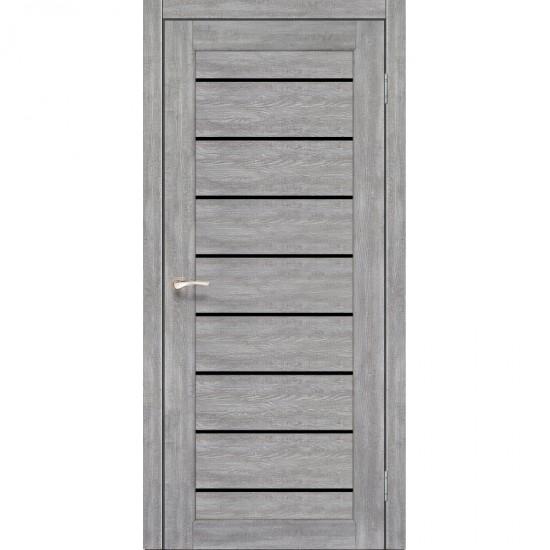 Дверь Piano Deluxe PND-01 с черным стеклом Лайт бетон