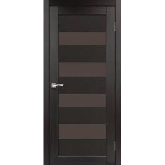 Дверь Piano Deluxe PND-02 с черным стеклом Венге