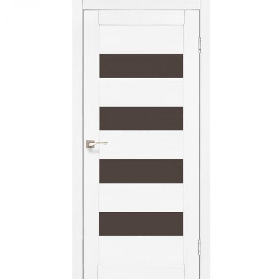 Дверь Piano Deluxe PND-02 с черным стеклом Ясень белый