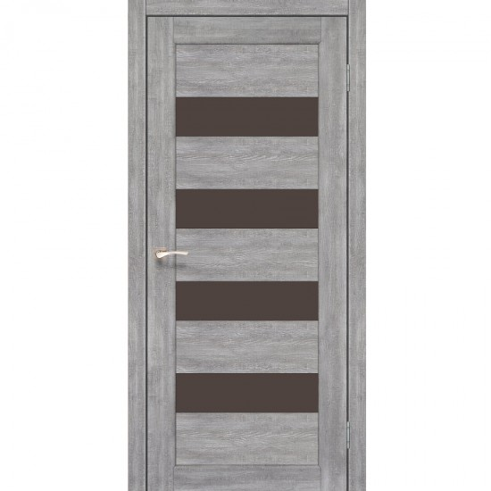 Дверь Piano Deluxe PND-02 с черным стеклом Дуб нордик