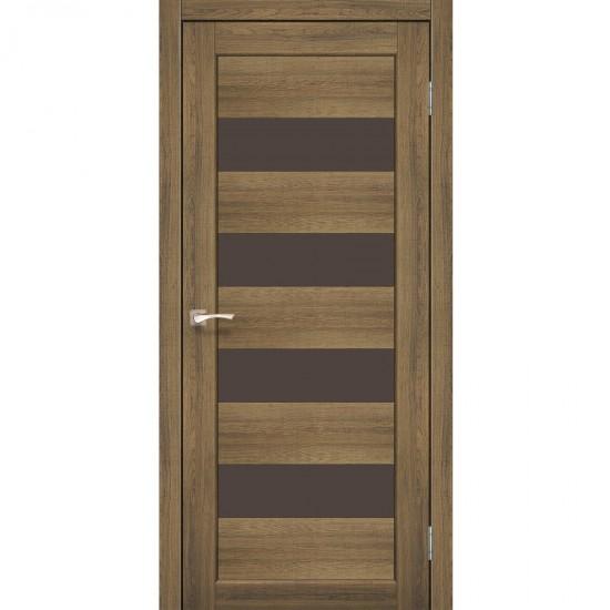Дверь Piano Deluxe PND-02 с черным стеклом Сталь кортен