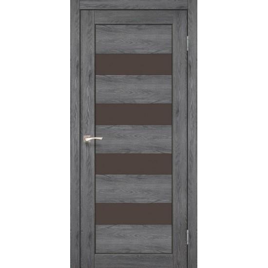 Дверь Piano Deluxe PND-02 с черным стеклом Лофт бетон