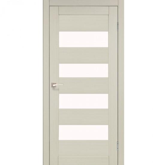 Дверь Piano Deluxe PND-02 со стеклом бронза Белый перламутр