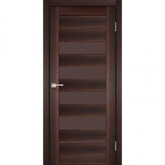 Дверь Piano Deluxe PND-03 с черным стеклом Орех