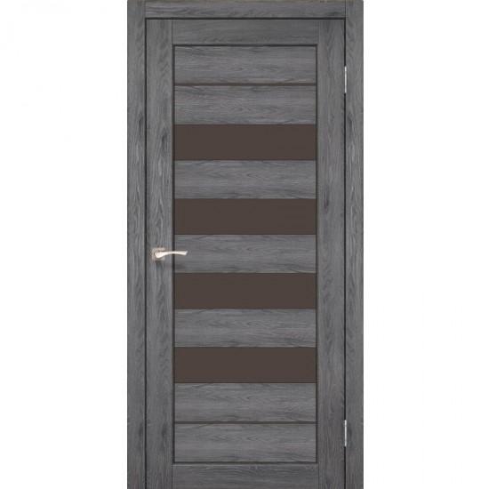 Дверь Piano Deluxe PND-03 с черным стеклом Дуб марсала