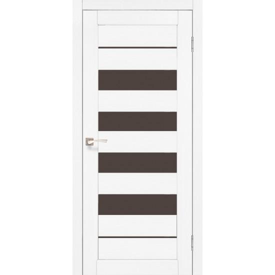 Дверь Piano Deluxe PND-03 с черным стеклом Ясень белый