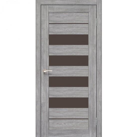 Дверь Piano Deluxe PND-03 с черным стеклом Эш-вайт
