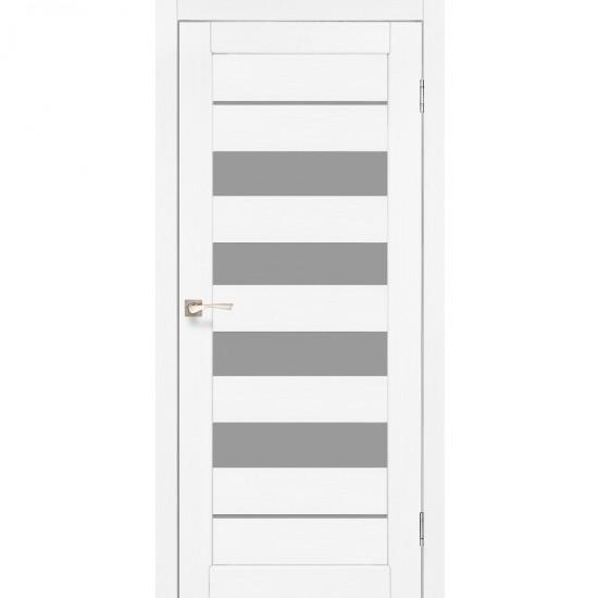 Дверь Piano Deluxe PND-03 со стеклом бронза Белый перламутр