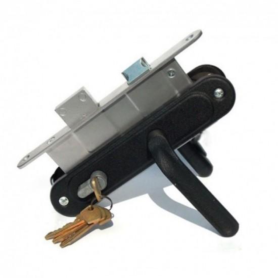 Замок врезной цилиндровый Мотор Сич Браво ФЗВ с ручками и секретом черный